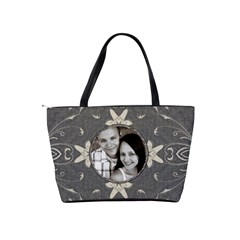 Charcoal Floral Shoulder Handbag By Lil    Classic Shoulder Handbag   Mv6pijcnjzke   Www Artscow Com Back