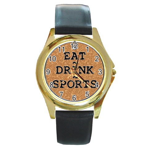 Eat   Drink   Sports Watch By Lil    Round Gold Metal Watch   Rfe2urri2jxk   Www Artscow Com Front
