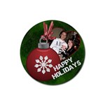 Happy Holidays Bulb Coaster - Rubber Coaster (Round)
