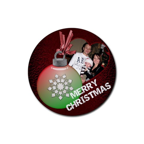 Merry Christmas Bulb Coaster By Lil    Rubber Coaster (round)   Gt1izgwp7lgi   Www Artscow Com Front