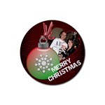 Merry Christmas Bulb Coaster - Rubber Coaster (Round)