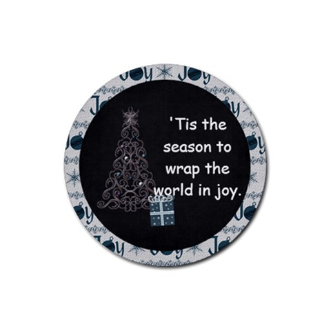 Magical Christmas Joy Poem Round Coaster By Bitsoscrap   Rubber Round Coaster (4 Pack)   Zfxeyzhg6x97   Www Artscow Com Front