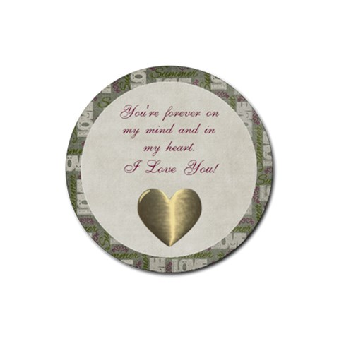 Summer Love Poem Round Coaster By Bitsoscrap   Rubber Round Coaster (4 Pack)   23xtxms6v04r   Www Artscow Com Front
