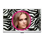 classic zebra n pink business card holder