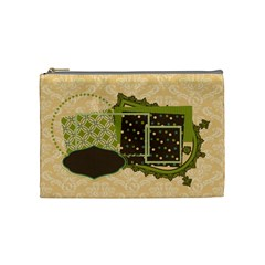 Green, Brown, & Ivory Medium Cosmetic Bag By Klh   Cosmetic Bag (medium)   Ou45oy4la98o   Www Artscow Com Front
