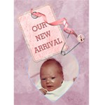 Baby Girl Arrival Card - Greeting Card 5  x 7