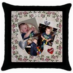 Roses & Hearts Pillow - Throw Pillow Case (Black)