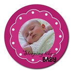 Sleeping baby pink - Mousepad - Round Mousepad