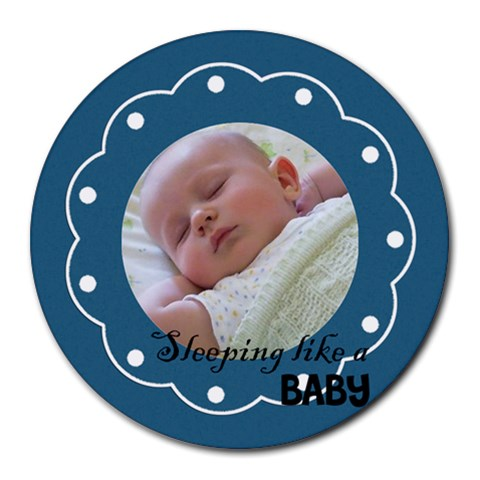 Sleeping Baby Blue   Mousepad By Carmensita   Round Mousepad   J32cqsyyz7pp   Www Artscow Com Front