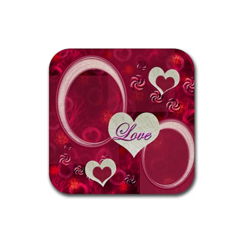 Heart Coaster Pink 51 By Ellan   Rubber Coaster (square)   Rtlbz3kv0z4w   Www Artscow Com Front