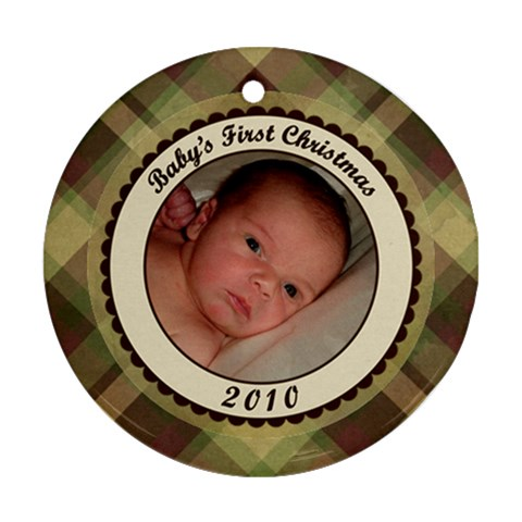 Baby s First Christmas Plaid Ornament By Klh   Ornament (round)   S0576ruoaibv   Www Artscow Com Front
