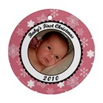 Baby s First Christmas Snowflake Ornament - Ornament (Round)