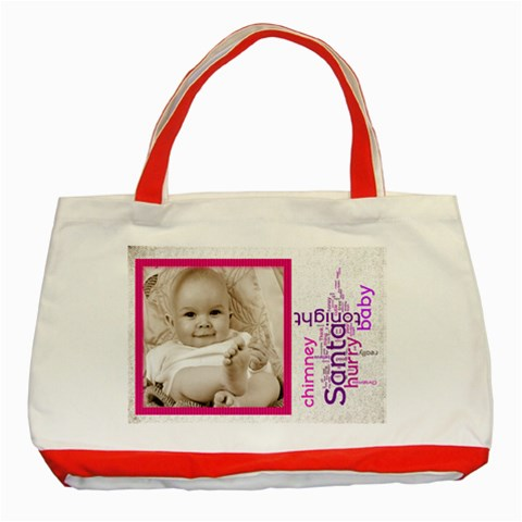 Santa Baby Red Christmas  Tote 2 By Catvinnat   Classic Tote Bag (red)   Eh24p23b5hnk   Www Artscow Com Front