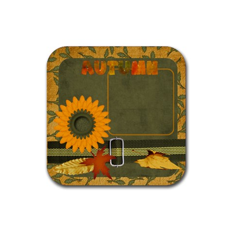 Sweet Harvest Sunflower Coaster By Bitsoscrap   Rubber Coaster (square)   Ullhf49wjo8r   Www Artscow Com Front