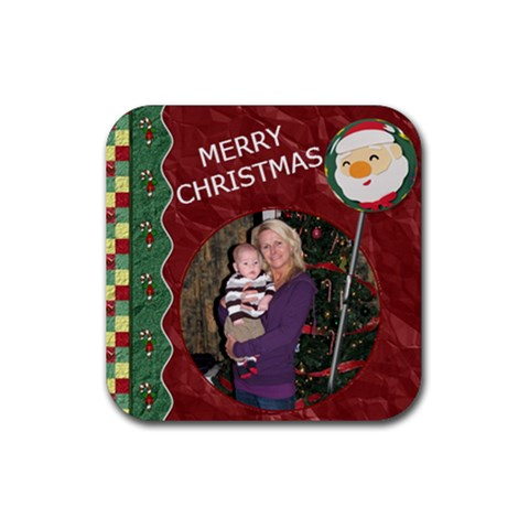 Merry Christmas Coaster By Lil    Rubber Coaster (square)   L4fxnnpyct4y   Www Artscow Com Front
