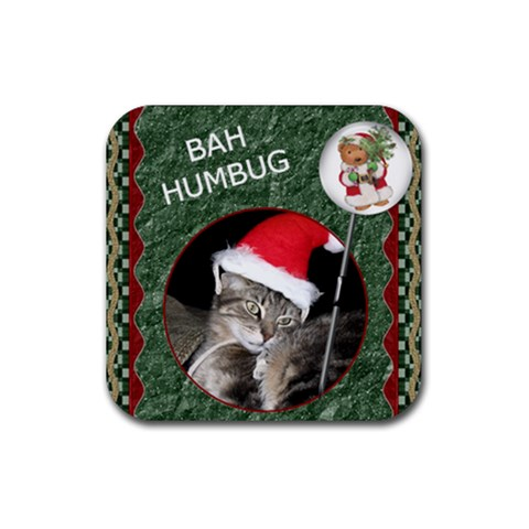Bah Humbug Christmas Coaster By Lil    Rubber Coaster (square)   539l55bwv58q   Www Artscow Com Front