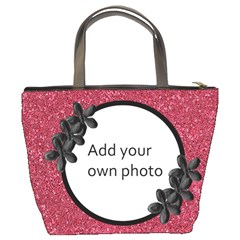 Dark Pink With Black Flowers Bucket Bag By Jen   Bucket Bag   Oufb9o5hvyzd   Www Artscow Com Back