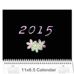 Simple Black Floral Calendar (12 month) - Wall Calendar 11 x 8.5 (12-Months)