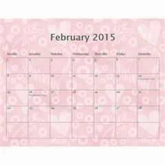 Art Nouveau 100% Love Pastel Pink Calendar 2015 By Catvinnat   Wall Calendar 11  X 8 5  (12 Months)   Ksczrgdr5av9   Www Artscow Com Feb 2015
