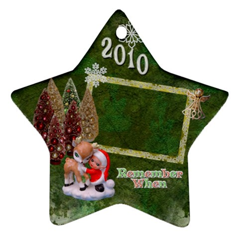 Elf Santa Hugging Reindeer Remember When 2010 Ornament 8 By Ellan   Ornament (star)   J5oe3urgvinx   Www Artscow Com Front