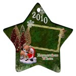 Elf santa hugging reindeer Remember when 2010 ornament 8 - Ornament (Star)