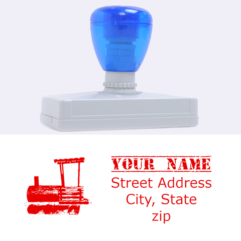 Train Stamp By Brenda   Rubber Address Stamp (xl)   Nqfpws1zicxd   Www Artscow Com 3.13 x1.38  Stamp