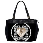Lacy Heart Black & White oversized office bag - Oversize Office Handbag (Two Sides)