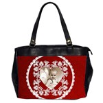 Lacy Heart valentines claret oversized office bag - Oversize Office Handbag (2 Sides)