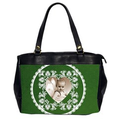 Lacy Heart Hunter Green Oversized Office Bag By Catvinnat   Oversize Office Handbag (2 Sides)   7hee9ujy04ee   Www Artscow Com Front