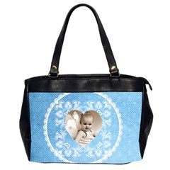 Lacy Heart Sky Blue Oversized Office Bag By Catvinnat   Oversize Office Handbag (2 Sides)   Zrtmyxc0z2ob   Www Artscow Com Front