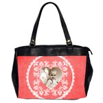 Lacy Heart red valentines oversized office bag - Oversize Office Handbag (2 Sides)