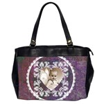 Lacy Heart deep purple oversized office bag - Oversize Office Handbag (Two Sides)