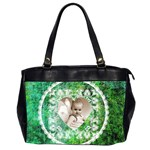 Lacy Heart deep green oversized office bag - Oversize Office Handbag (Two Sides)