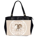 Lacy Heart latte oversized office bag - Oversize Office Handbag (Two Sides)