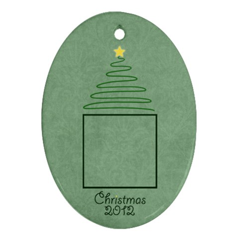 Christmas Oval Ornament Green Damask By Mim   Ornament (oval)   8fbsfjvp5856   Www Artscow Com Front
