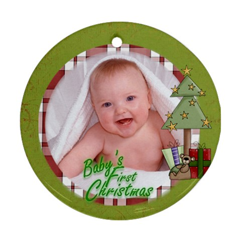 Baby s First Christmas Ornament 6 By Catvinnat   Ornament (round)   Mc5e90uoet18   Www Artscow Com Front
