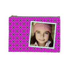 Casual Pink Cosmetic Bag By Jorge   Cosmetic Bag (large)   Zbvseqj2yqdy   Www Artscow Com Front