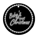 Baby s First Christmas Black & white round ornament - Round Ornament (Two Sides)