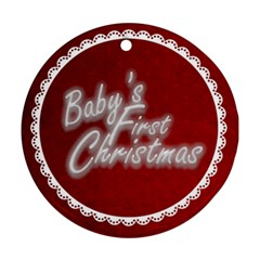 Baby s First Christmastraditional Claret & White Round Ornament By Catvinnat   Round Ornament (two Sides)   89of1f3okx4j   Www Artscow Com Front