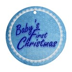 Baby s First Christmas Blue & white round ornament - Round Ornament (Two Sides)
