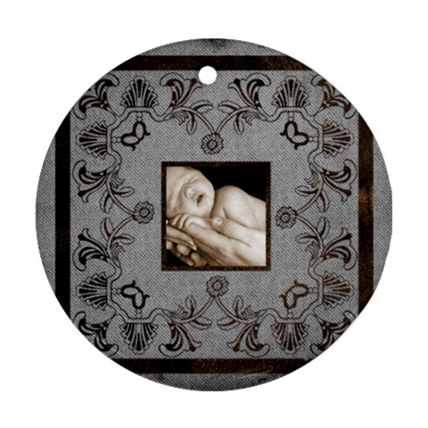 Art Nouveau Grey Single Pic Round Single Side Ornament By Catvinnat   Ornament (round)   B7h36cb5fcpo   Www Artscow Com Front