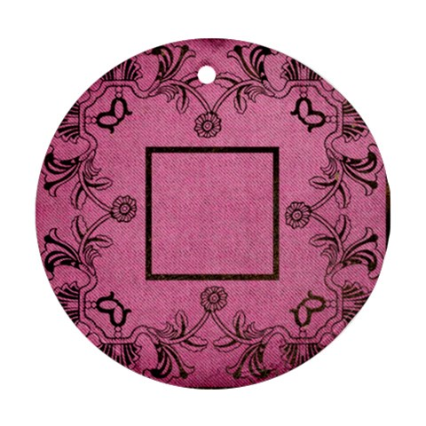 Art Nouveau Pink Round Single Side Ornament By Catvinnat   Ornament (round)   Ew06x4j4u4tn   Www Artscow Com Front