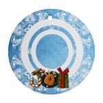 art nouveau joy blue round single side ornament - Ornament (Round)