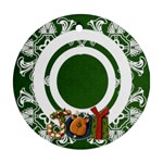 art nouveau joy hunter green round single side ornament - Ornament (Round)