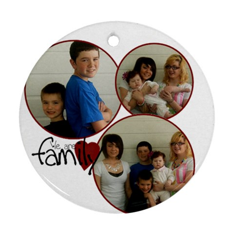 3 Photo Family Ornament By Amanda Bunn   Ornament (round)   Uz8si5w5alev   Www Artscow Com Front