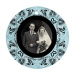 art nouveau black & blue round single side ornament - Ornament (Round)