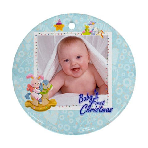 Blanky Bunny Blue Bab s First Christmasround Ornament By Catvinnat   Ornament (round)   0slhww93anxr   Www Artscow Com Front