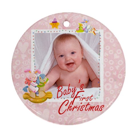 Blanky Bunny Pink Baby s First Christmas Round Ornament By Catvinnat   Ornament (round)   6t951tg7t35i   Www Artscow Com Front