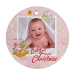 blanky bunny pink baby s first christmas round ornament - Ornament (Round)