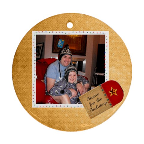 Home For The Holidays Christmas Round Ornament By Catvinnat   Ornament (round)   819kyyqqi7hu   Www Artscow Com Front